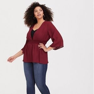 NWT Torrid Button Front Smocked Babydoll Blouse